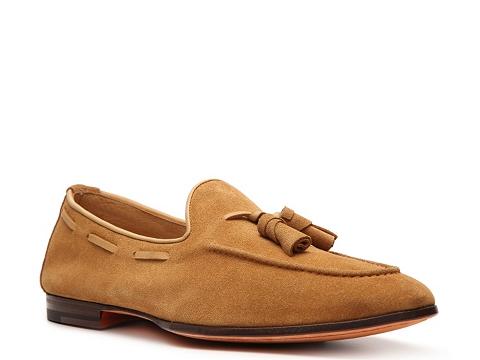 Pantofi Santoni - Suede Tassel Loafer - Tan