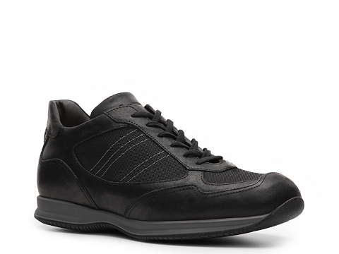 Pantofi Santoni - Leather & Canvas Sneaker - Black
