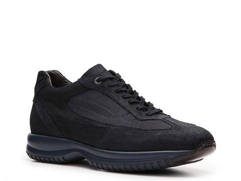 Pantofi Santoni - Suede & Canvas Sneaker - Dark Navy Blue