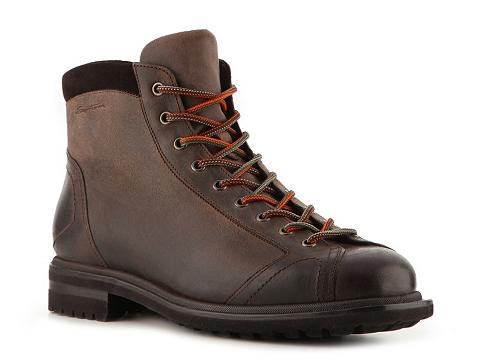Pantofi Santoni - Vintage Leather Lace-Up Hiking Boot - Chocolate