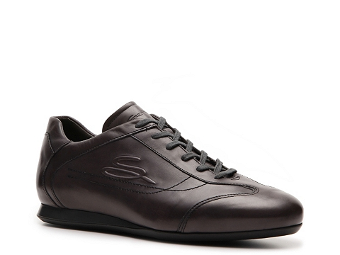 Pantofi Santoni - Leather Logo Sneaker - Dark Purple