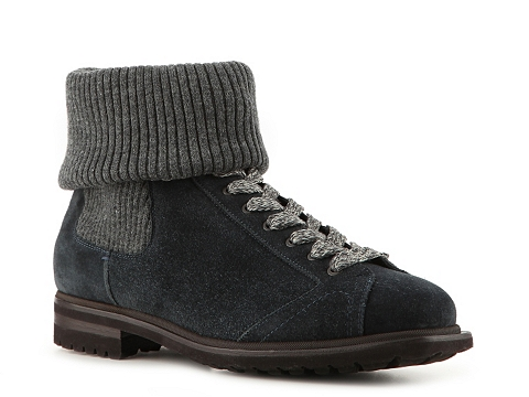 Ghete Santoni - Suede Roll Top Boot - Navy/Grey