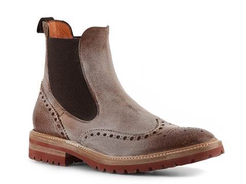 Ghete Santoni - Distressed Leather Wingtip Boot - Brown