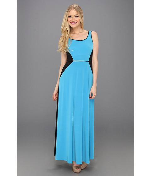 Rochii London Times - 2 Tone Sleeveless Maxi Dress - Turquoise