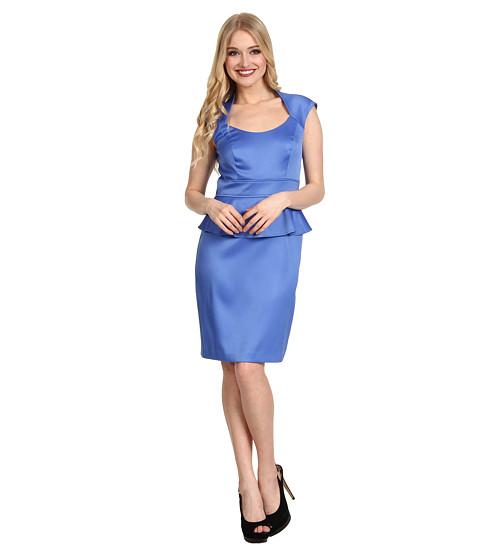 Rochii London Times - Cap Sleeve Peplum Dress - Blue