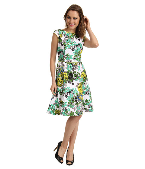 Rochii London Times - Cap Sleeve Printed Fit & Flare Dress - Green