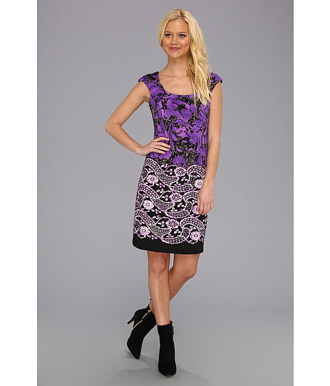 Rochii London Times - Cap Sleeve Printed Lace Border Sheath - Purple/Black