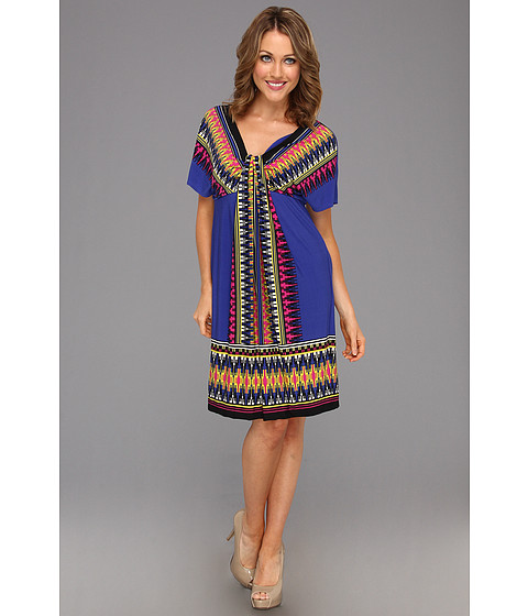 Rochii London Times - Short Sleeve Printed Waterfall Dress - Royal/Multi