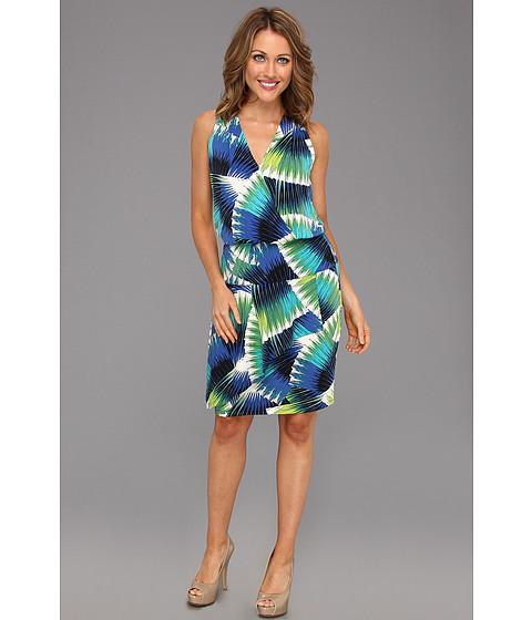 Rochii London Times - V Neck Halter Tulip Skirt Dress - Green/Blue