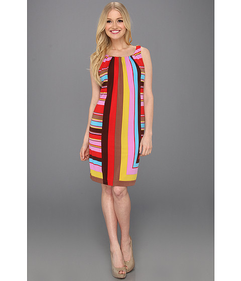 Rochii London Times - V-Back Print Shift Dress - Brown Multi
