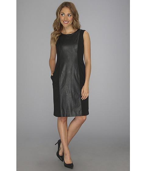 Rochii Anne Klein New York - Leather Panel Ponte Sheath Dress - Black
