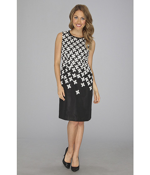 Rochii Anne Klein New York - Tetris Jacquard Sheath Dress - Black/Ivory