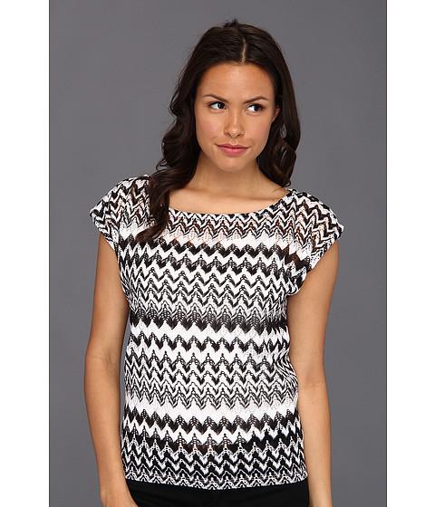 Tricouri Christin Michaels - Tavia Zigzag Lace Top - Soft White Multi