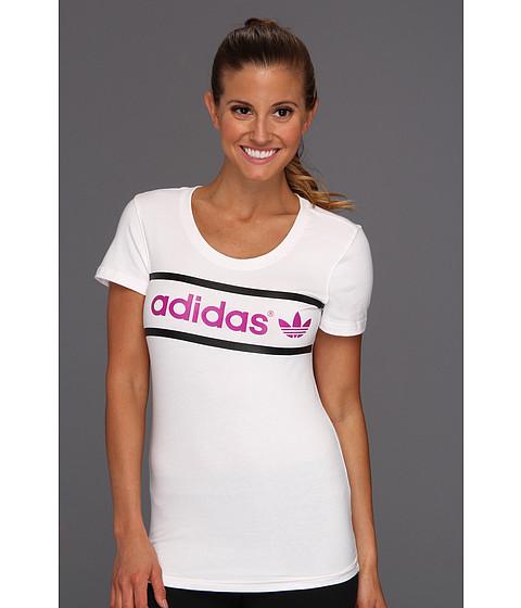 Tricouri Adidas Originals - Heritage Logo Tee - White/Vivid Pink/Black