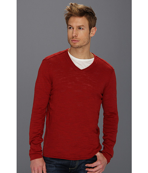 Bluze John Varvatos - Linen Blend V-Neck Sweater - Brick