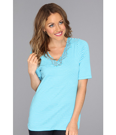 Tricouri Jones New York - Striped Lace V-Neck Top - Pacific Turquoise Combo
