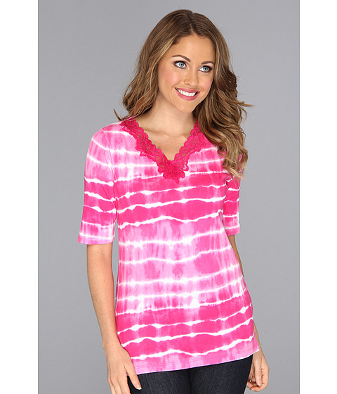 Tricouri Jones New York - Tie Dye Lace V-Neck Top - Fuchsia Crush Combo