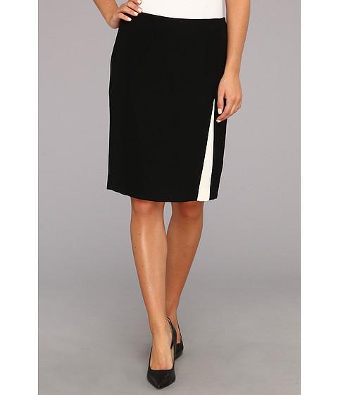 Fuste Nine West - Crepe Color Block Skirt - Black/Ivory