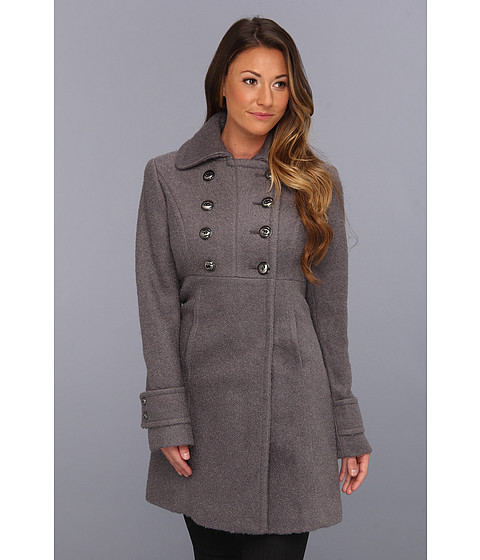 Jachete Kenneth Cole - Double Breasted Baby Doll Boucle Wool Coat - Grey