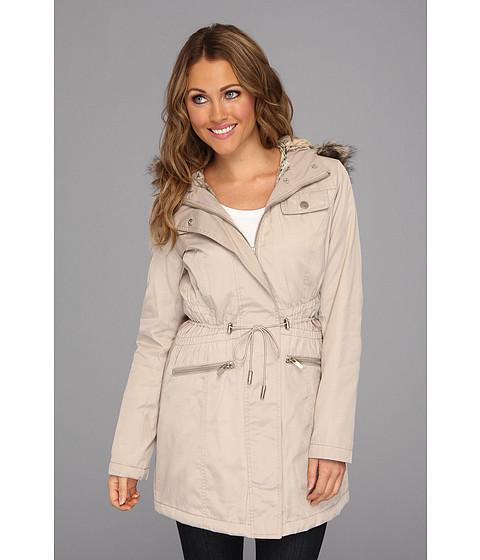 Jachete Kenneth Cole - Zip Front Cotton Jacket with Adjustable Drawstring Waist - Parchment