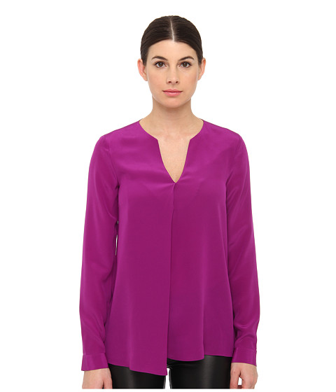 Bluze Tibi - Solid Silk CDC Split Neck Long-Sleeve Blouse - Boysenberry