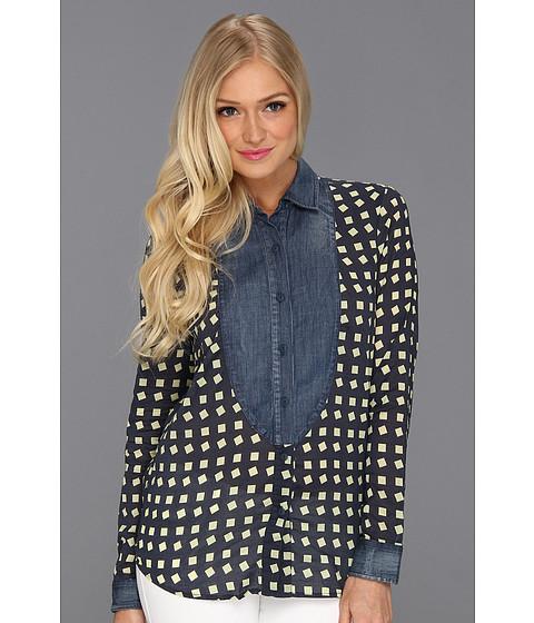 Bluze BCBGeneration - Contrast Button Up Blouse - Navy Canary Combo