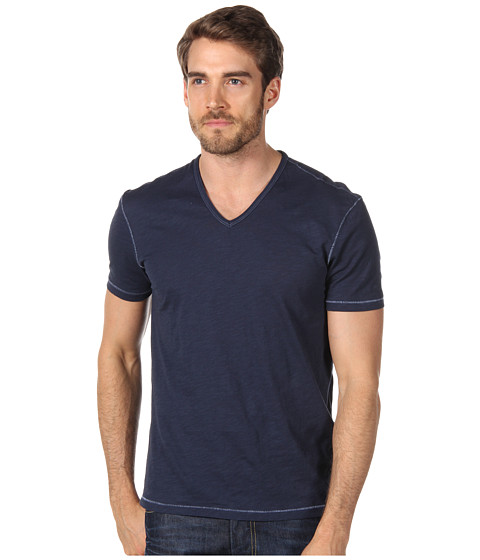 Tricouri John Varvatos - S/S V-Neck Slub Tee K677P1B - Oiled Blue