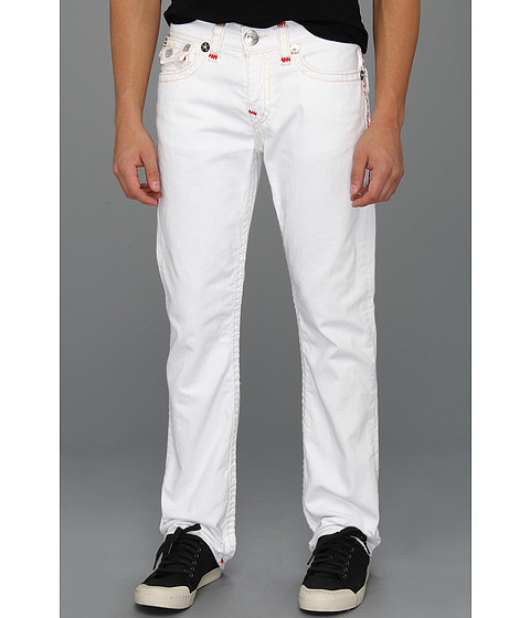 Blugi True Religion - Ricky Straight Contrast Red Super T in Optic White - Optic White