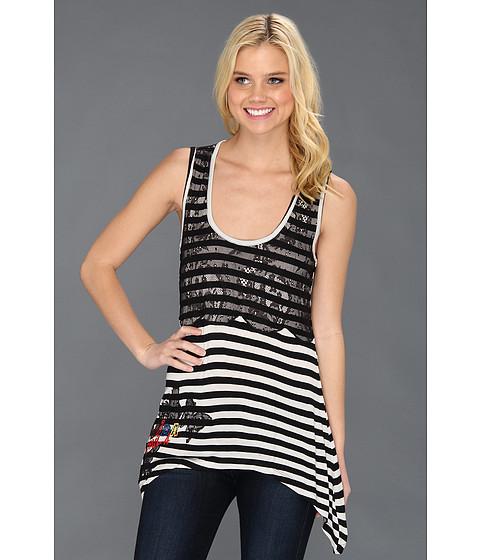 Bluze Desigual - Laces Sleeveless Tee - Negro