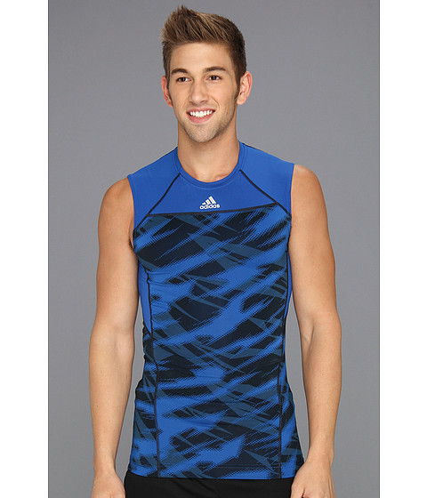 Tricouri adidas - Techfit Compression Sleeveless Tee Impact Sting Camo - Blue Beauty/Dark Onix/Night Shade