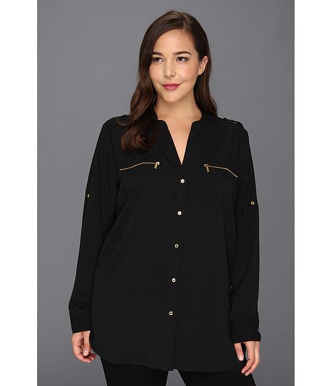 Tricouri Calvin Klein - Plus Size Zipper Roll Sleeve - Black