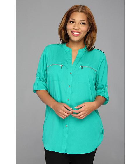 Bluze Calvin Klein - Plus Size Zipper Roll Sleeve - Jadeite