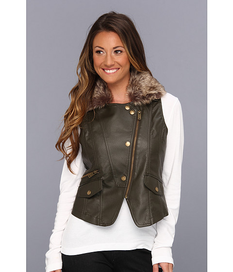 Jachete dollhouse - PU Vest with Detachable Faux Fur Collar - Olive