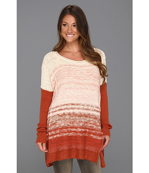 Bluze Free People - Side Slit Pullover - Creme/Rust Combo