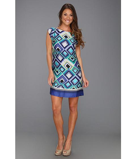 Rochii Laundry by Shelli Segal - Placement Print Cap Sleeve T Dress - Jet Blue Multi