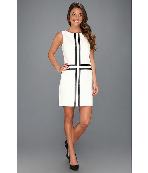 Rochii Laundry by Shelli Segal - Ponte and Leather Sleeveless Dress - Warm White