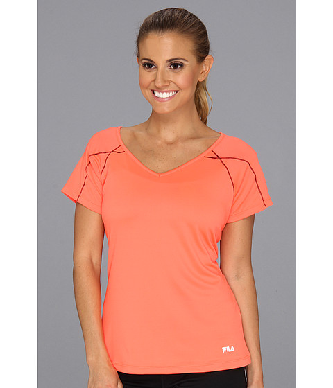 Tricouri Fila - Day Glo Cap Sleeve Top - Fiery Coral/Black