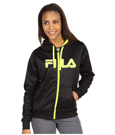 Bluze Fila - Zip Up Hoodie - Black/Limepunch/White