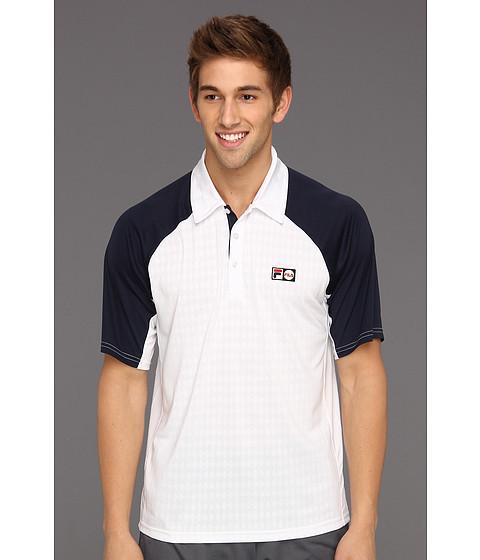 Tricouri Fila - Heritage Diamond Knit Shirt - White/Peacoat