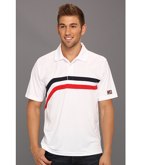 Tricouri Fila - Heritage Stripe Polo Shirt - White/Chinese Red/Peacoat