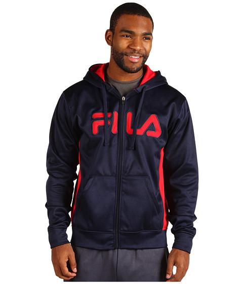 Hanorace Fila - Plaited Fleece Full Zip Hoodie - Peacoat/Chinese Red/Ebony