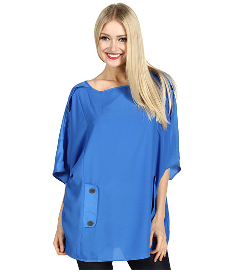 Bluze Echo Design - Solid Epaulette Poncho - Primary Blue