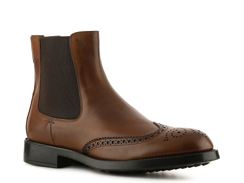 Ghete Tods - Tods Leather Wingtip Boot - Brown