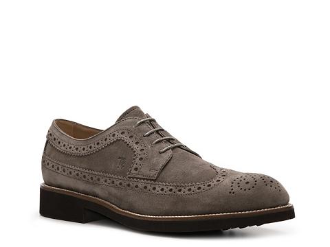 Pantofi Tods - Tods Suede Wingtip Oxford - Taupe