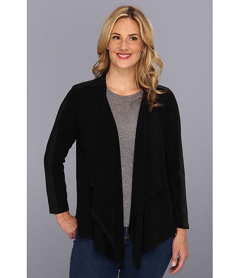 Jachete Karen Kane - Plus Size Faux Leather Trim Drape Jacket - Black