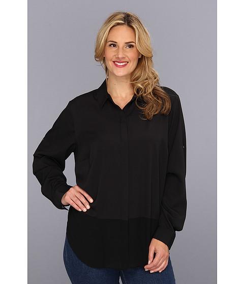 Bluze DKNY - Plus Size L/S Roll Tab Button Blouse w/ Chiffon Hem - Black