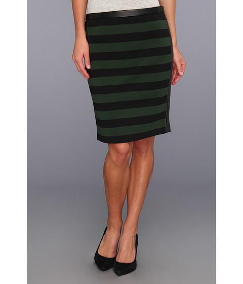 Fuste Vince Camuto - Pleather Trim Bar Stripe Skirt - English Ivy