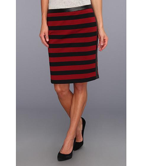 Fuste Vince Camuto - Pleather Trim Bar Stripe Skirt - Rhubarb