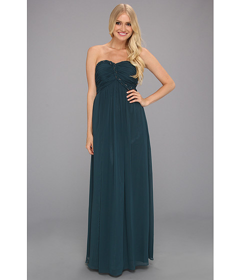 Rochii Calvin Klein - Chiffon Gown with Ruched Bodice - Pine