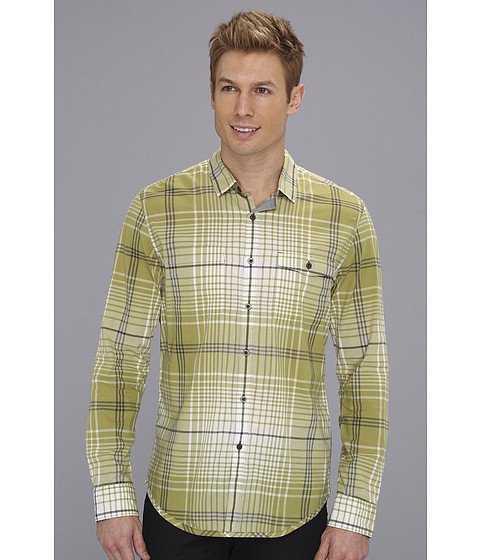 Tricouri Calvin Klein - Intrepid Plaid Body L/S Shirt - Green Thorne